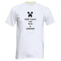 Мужская спортивная футболка KEEP CALM and HUG A CREEPER - FatLine