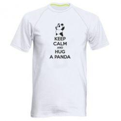 Мужская спортивная футболка KEEP CALM and HUG A PANDA - FatLine