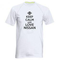 Мужская спортивная футболка Keep calm and love Nissan - FatLine