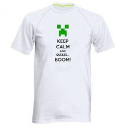 Мужская спортивная футболка Keep calm and ssssssss...BOOM! - FatLine