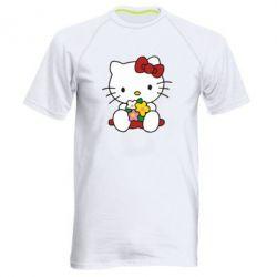 Мужская спортивная футболка Kitty с букетиком - FatLine