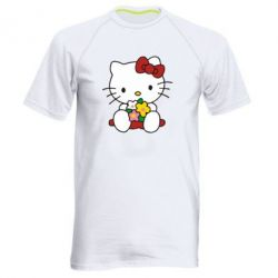 Мужская спортивная футболка Kitty с букетиком