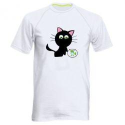 Мужская спортивная футболка Кошечка и аквариум - FatLine