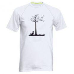 Мужская спортивная футболка Кот прыгает на дерево - FatLine