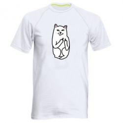 Мужская спортивная футболка Кот с факом - FatLine