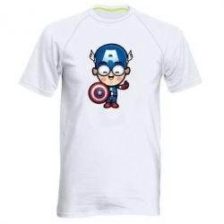 Мужская спортивная футболка Маленький Капитан Америка - FatLine