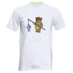 Мужская спортивная футболка Медведь ловит рыбу - FatLine