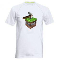 Мужская спортивная футболка Minecraft Logo Сube