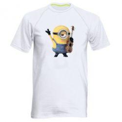 Мужская спортивная футболка Миньон с гитарой - FatLine