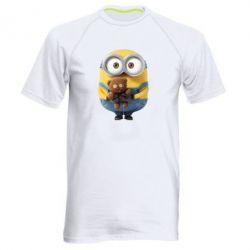 Мужская спортивная футболка Миньон с мишкой - FatLine