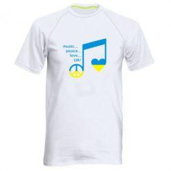 Мужская спортивная футболка Music, peace, love UA - FatLine
