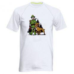 Мужская спортивная футболка Охотник с собакой
