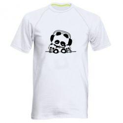 Мужская спортивная футболка Панда в наушниках - FatLine
