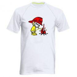 Мужская спортивная футболка Писающий хулиган-пожарный - FatLine
