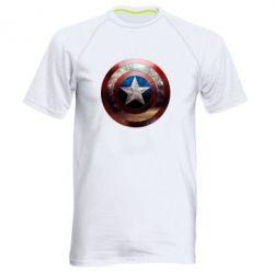 Мужская спортивная футболка Потрескавшийся щит Капитана Америка - FatLine