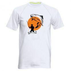 Мужская спортивная футболка Рыбак на фоне солнца - FatLine