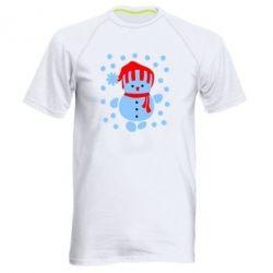 Мужская спортивная футболка Снеговик в шапке - FatLine