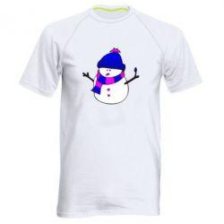 Мужская спортивная футболка Снеговик - FatLine