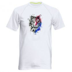 Мужская спортивная футболка Тигр Акварель