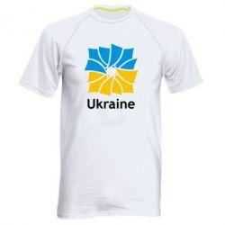 Мужская спортивная футболка Ukraine квадратний прапор - FatLine