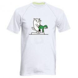 Мужская спортивная футболка Вежливый кот - FatLine