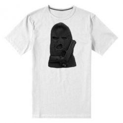 Мужская стрейчевая футболка Балаклава с пистолетом - FatLine