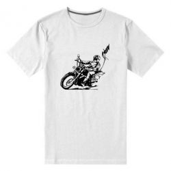 Мужская стрейчевая футболка Байкер на мотоцикле - FatLine