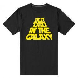 Мужская стрейчевая футболка Best dad in the galaxy