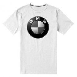 Мужская стрейчевая футболка BMW Black & White - FatLine