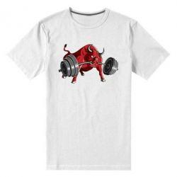 Мужская стрейчевая футболка Bull with a barbell - FatLine