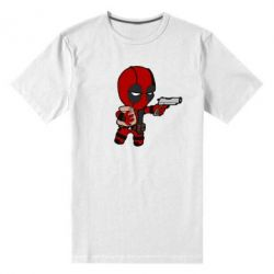 Мужская стрейчевая футболка Дедпул с пакетиком - FatLine