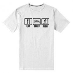 Чоловіча стрейчева футболка Eat, sleep, fish
