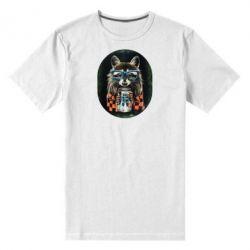 Мужская стрейчевая футболка Енот в очках - FatLine