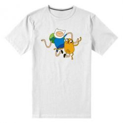 Мужская стрейчевая футболка Фин и Джейк танцуют 2