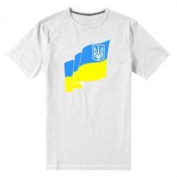 Мужская стрейчевая футболка Флаг Украины с Гербом - FatLine
