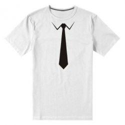 Мужская стрейчевая футболка Галстук - FatLine