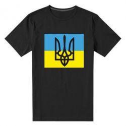 Мужская стрейчевая футболка Герб на прапорі - FatLine