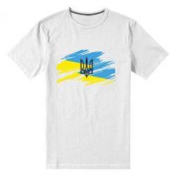 Мужская стрейчевая футболка Герб на рваному прапорі - FatLine