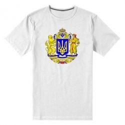 Мужская стрейчевая футболка Герб Украины полноцветный - FatLine