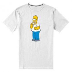 Мужская стрейчевая футболка Гомер что-то затеял - FatLine