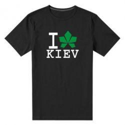 Мужская стрейчевая футболка I love Kiev - с листиком - FatLine