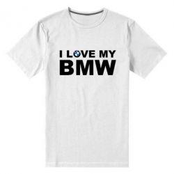 Мужская стрейчевая футболка I love my BMW - FatLine