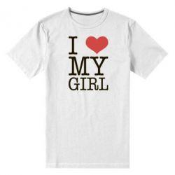 Мужская стрейчевая футболка I love my girl - FatLine