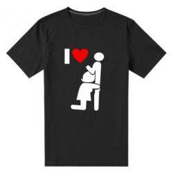 Мужская стрейчевая футболка I love oral - FatLine