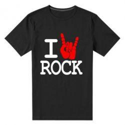 Мужская стрейчевая футболка I love rock - FatLine