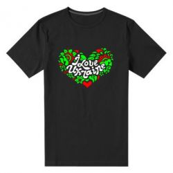 Мужская стрейчевая футболка I love Ukraine heart