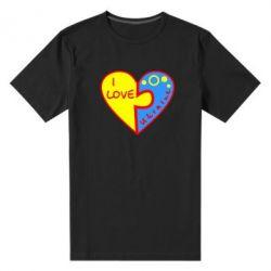 Мужская стрейчевая футболка I love Ukraine пазлы - FatLine