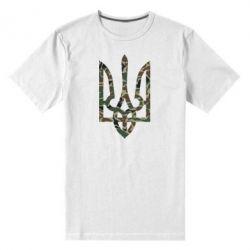 Мужская стрейчевая футболка Камуфляжный герб Украины - FatLine