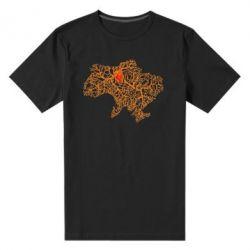 Мужская стрейчевая футболка Карта України з серцем - FatLine
