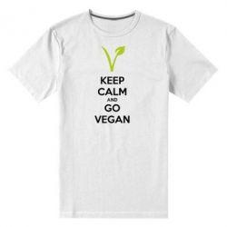 Мужская стрейчевая футболка Keep calm and go vegan